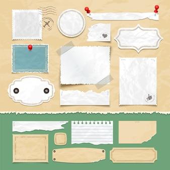 Vintage scrapbooking vector-elementen. oud oud papier, fotolijsten en labels. illustratie van plakboek en document kaartwijnoogst
