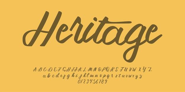 Vintage script alfabet lettertype
