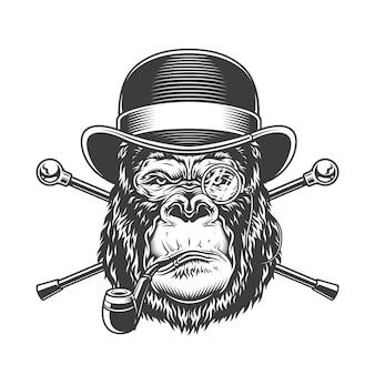 Vintage serieuze gorilla hoofd rookpijp