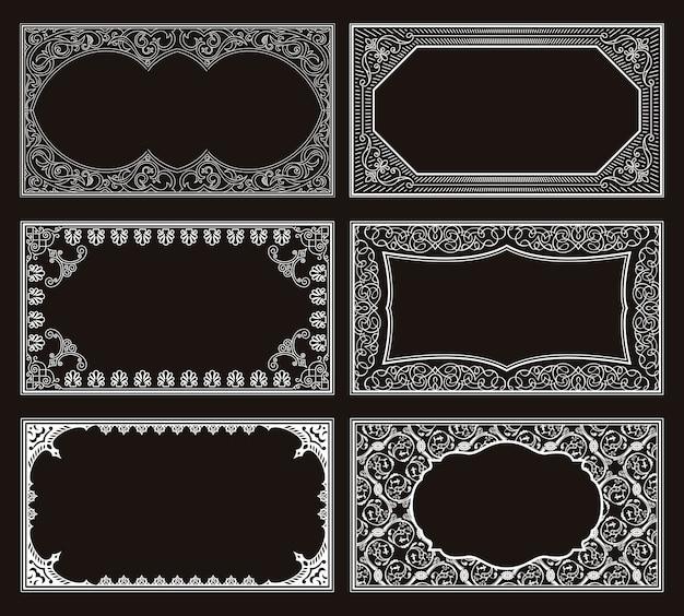 Vintage set kalligrafische frames en kaarten
