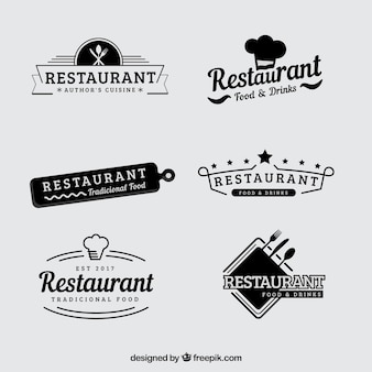 Vintage set retro restaurant logo's