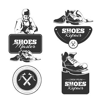Vintage set schoenen reparatie badges