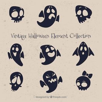 Vintage set van spoken en schedels voor halloween