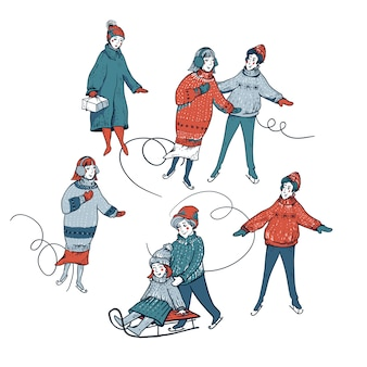 Vintage set van winter mensen rodelen