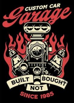 Vintage shirtontwerp van aangepaste autogarage met grote muscle car-motor
