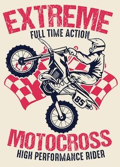 Vintage shirtontwerp van motorcross
