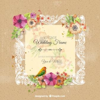 Vintage sier bruiloft frame met bloemen