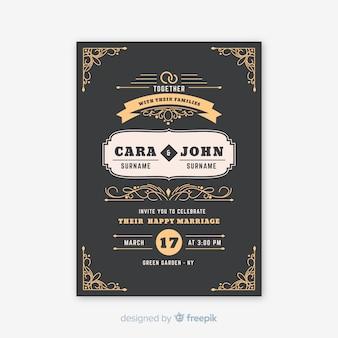 Vintage sier bruiloft uitnodiging sjabloon
