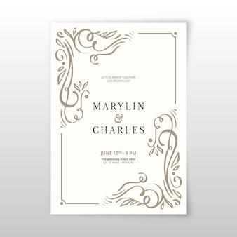 Vintage sier sjabloon bruiloft uitnodiging