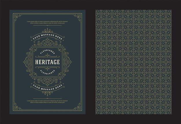 Vintage sieraad wenskaart kalligrafische sierlijke wervelingen en vignetten frame ontwerp vector
