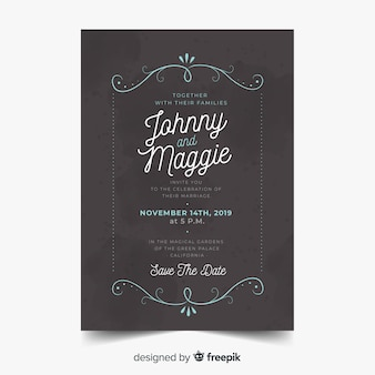 Vintage sierhuwelijksuitnodiging