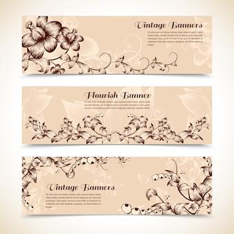 Vintage sierlijke bloeien horizontale banner