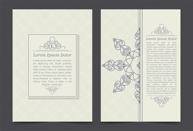 Vintage sierlijke covers in oosterse stijl met mandala