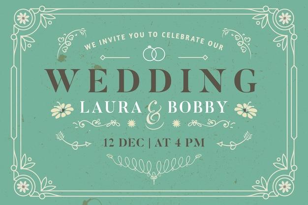 Vintage sjabloon bruiloft uitnodiging