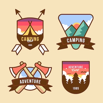 Vintage sjabloon camping & avonturen badges pack