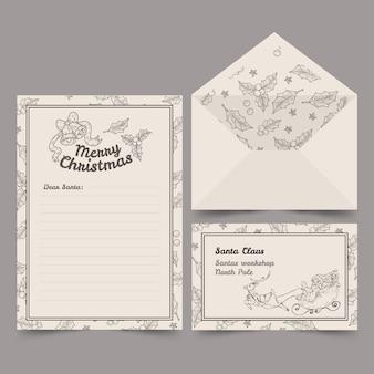 Vintage sjabloon kerst briefpapier