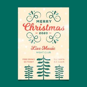 Vintage sjabloon kerstfeest flyer