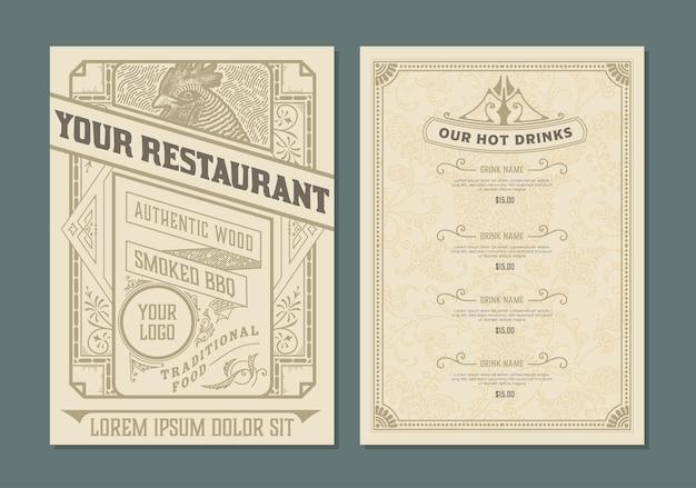 Vintage sjabloon voor het ontwerp van het restaurantmenu