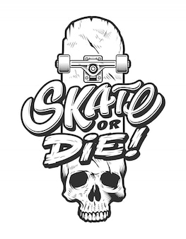 Vintage skateboard embleem sjabloon