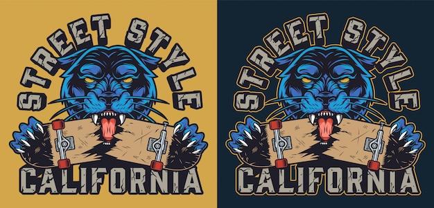 Vintage skateboard kleurrijke logo