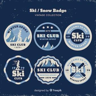 Vintage ski en sneeuw badge collectie