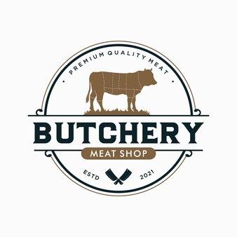 Vintage slagerij embleem logo sjabloon