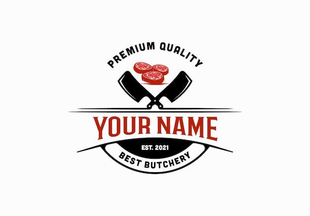 Vintage slagerij logo ontwerpsjabloon inspiratie