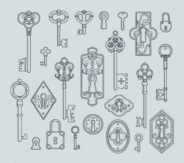 Vintage sleutels en hangsloten voor middeleeuwse deuren. hand getrokken vectorillustraties.