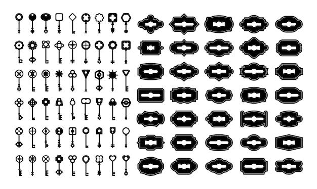 Vintage sleutels en sleutelgaten sets