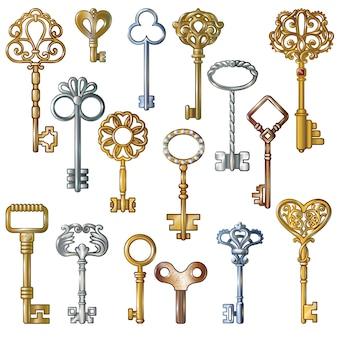 Vintage sleutels instellen