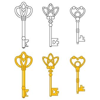 Vintage sleutels tekenfilm verzameling