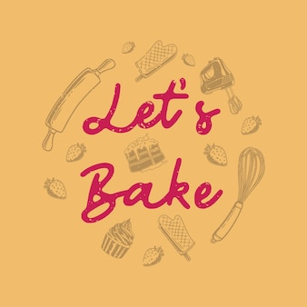 Vintage slogan typografie laten we bakken voor t-shirtontwerp