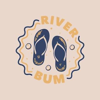 Vintage slogan typografie rivierbedelaar
