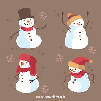 Vintage sneeuwpop tekensverzameling