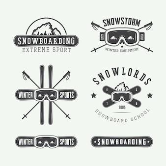 Vintage snowboarden of wintersport logo's badges emblemen en ontwerpelementen