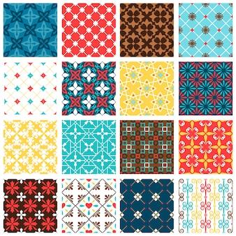 Vintage spaanse tegels vector set. vector betegeld keramische vloerpatronen