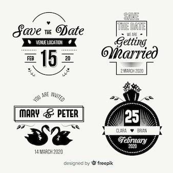 Vintage sparen de datum belettering set