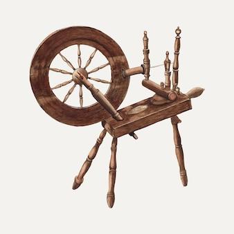 Vintage spinnewiel illustratie vector, geremixt van het kunstwerk door ludmilla calderon