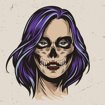 Vintage spooky vrouwenhoofd