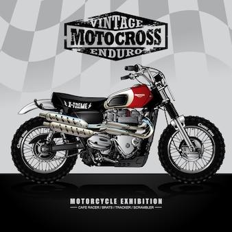 Vintage srambler motorfiets poster