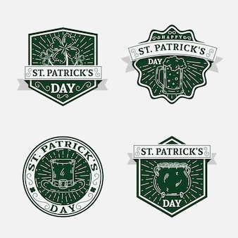 Vintage st. patrick's day badge-collectie