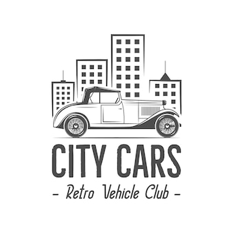 Vintage stadsauto logo