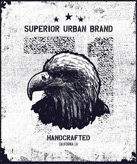 Vintage stedelijke t-shirt graphics, met de hand getekende illustratie, grunge textuur.