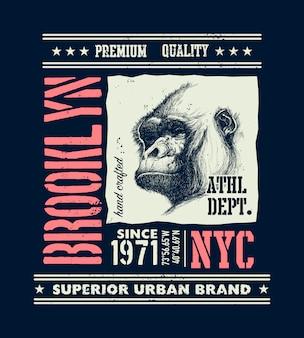 Vintage stedelijke typografie met gorilla hoofd