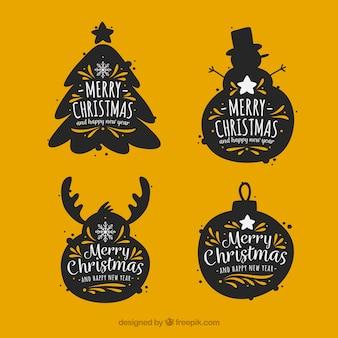 Vintage stickers set kerst elementen silhouetten