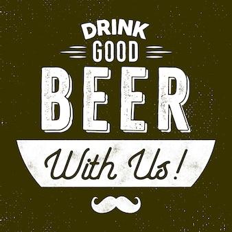 Vintage stijl bier badge. drink goed bier bij ons teken. movember-symbool - snor inbegrepen