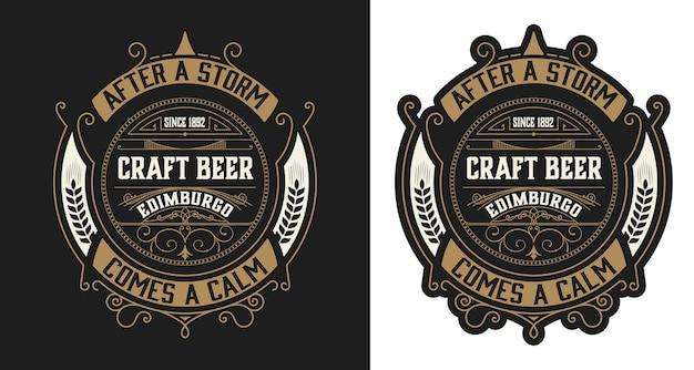 Vintage stijl bier label lay-out