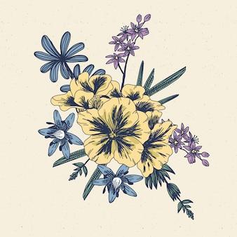 Vintage stijl bloemenboeket