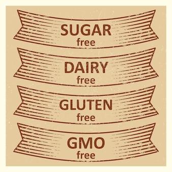 Vintage stijl glutenvrij, suikervrij, zuivelvrij labels lint tags ontwerp