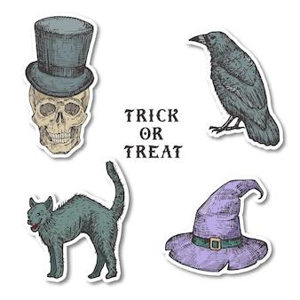 Vintage stijl halloween stickers set